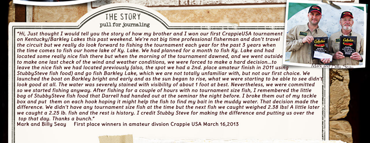 We just love this story from Mark and Billy Seay... they finshed first in the amateur division at the Crappie USA tournament on March 16, 2013... they credit using a sample pack of our Fish Food Pellets to help  put them in first place....